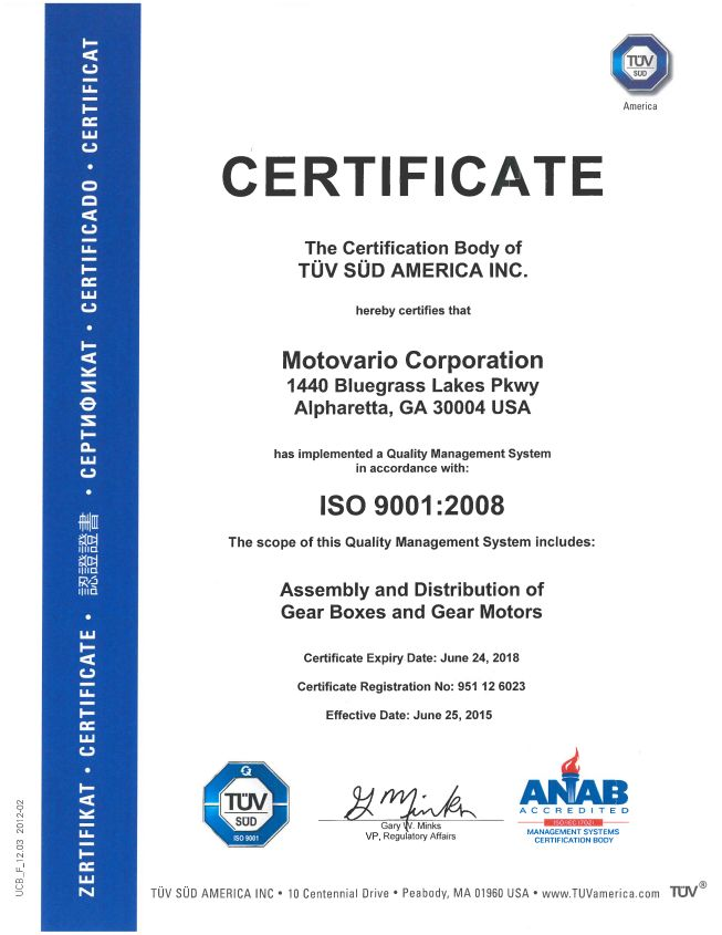 Motovario Corporation Has Renewed The Iso 90012008 Certification