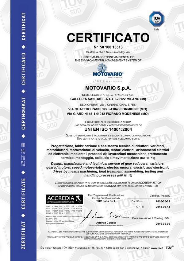 A new success for Motovario: the UNI EN ISO 14001:2004 certification