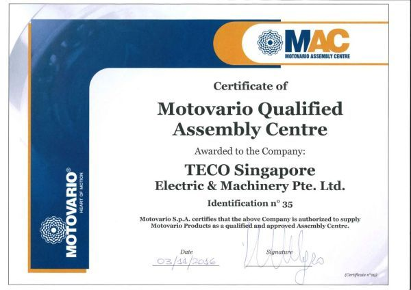 TECO Electric & Machinery Pte Ltd devient MAC, 03.11.2016
