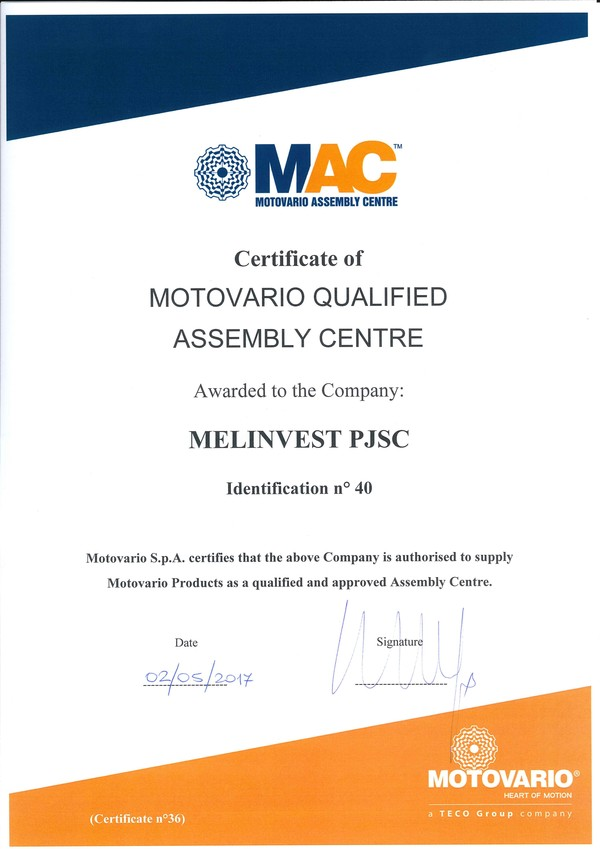 Melinvest PJSC becomes MAC, 02.05.2017