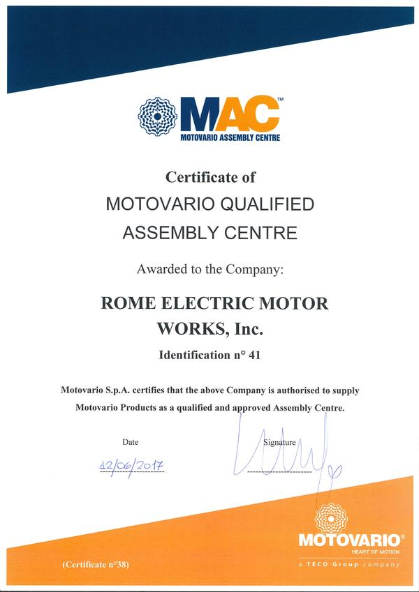 ROME ELECTRIC MOTOR WORKS, Inc. devient MAC, 12.06.2017