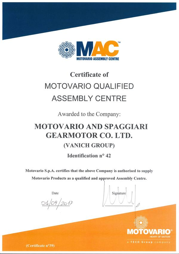 MOTOVARIO AND SPAGGIARI GEARMOTOR CO. LTD. (Vanich Group) becomes MAC, 1.09.2017