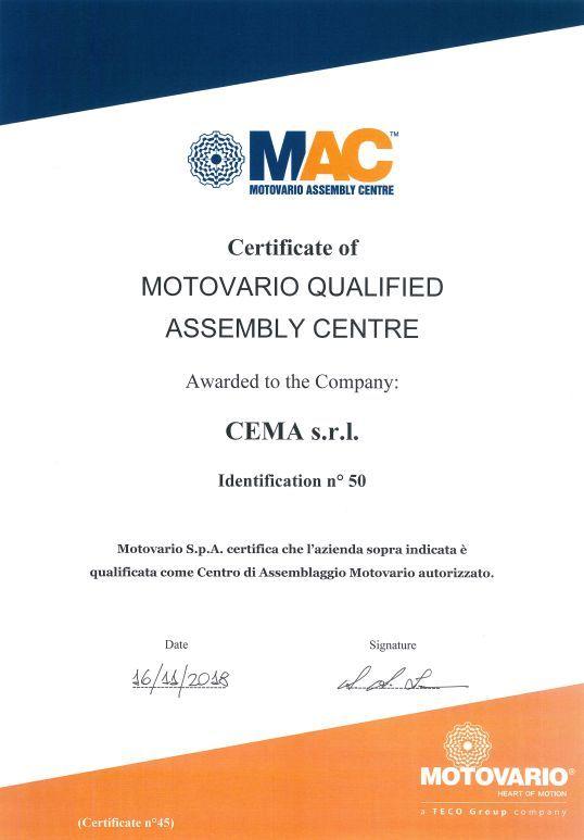 CEMA S.R.L. se convierte en MAC, 16.11.2018