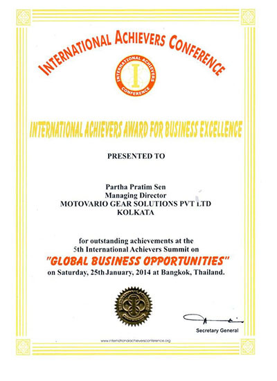 Nomination for the general manager of the Indian subsidiary, the International Achievers Award for Business Excellence 2013