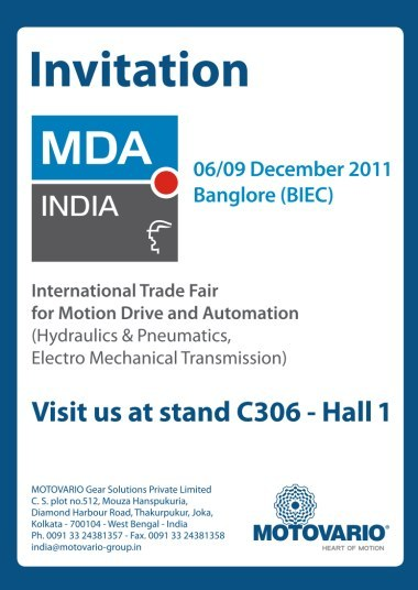 MOTOVARIO PARTICIPATES AT MDA FAIR IN BANGALORE