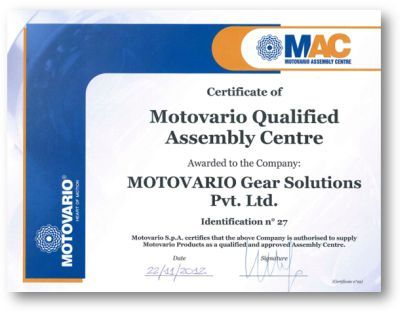 Motovario Gear Solutions Pvt Ltd. becames MAC, 22nd November 2012